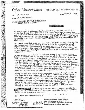 One of the declassified documents. It is a memorandum from a Special Agent to J. Edgar Hoover, regarding UFOs being sighted at Los Alamos, where nuclear weapon research began.